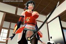 Joven Samurai sabe como mover esos ricos pechos Anime